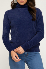 She + Sky LS Turtleneck Fuzzy Sweater - Front cropped
