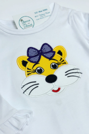 Blanks Boutique LSU Tiger Applique on Long Sleeve Ruffle Onesie - Front cropped
