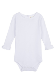 Blanks Boutique LSU Tiger Applique on Long Sleeve Ruffle Onesie - Front full body
