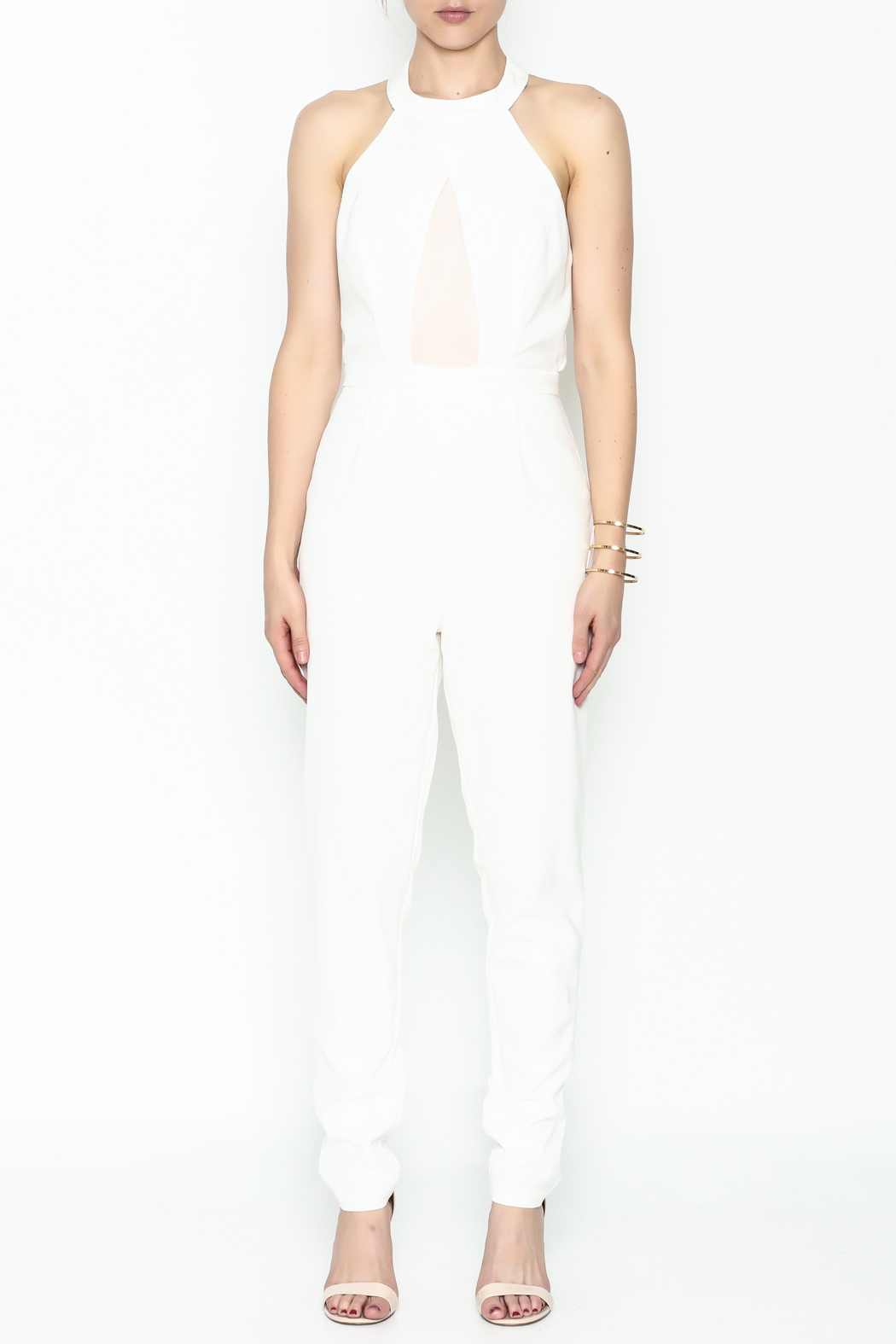 lucca couture White Halter Jumpsuit - Front Full Image