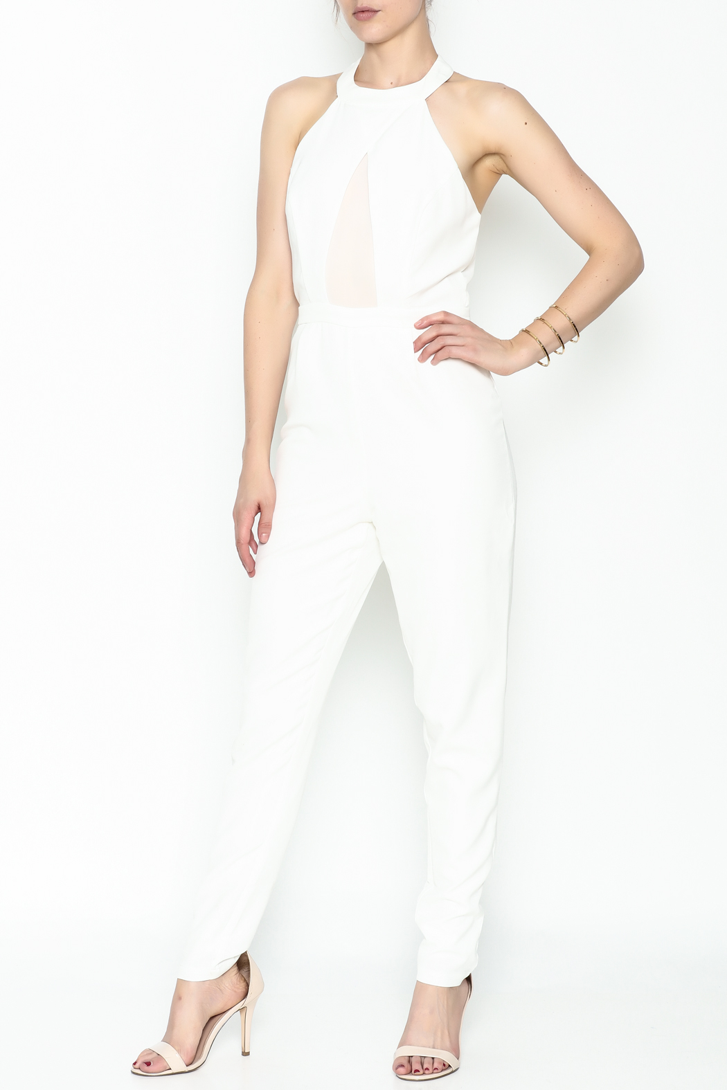 lucca couture White Halter Jumpsuit - Main Image