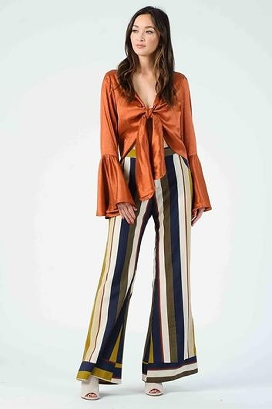 Lucca Couture Isla Contrast Cuff Pants - Front Full Image
