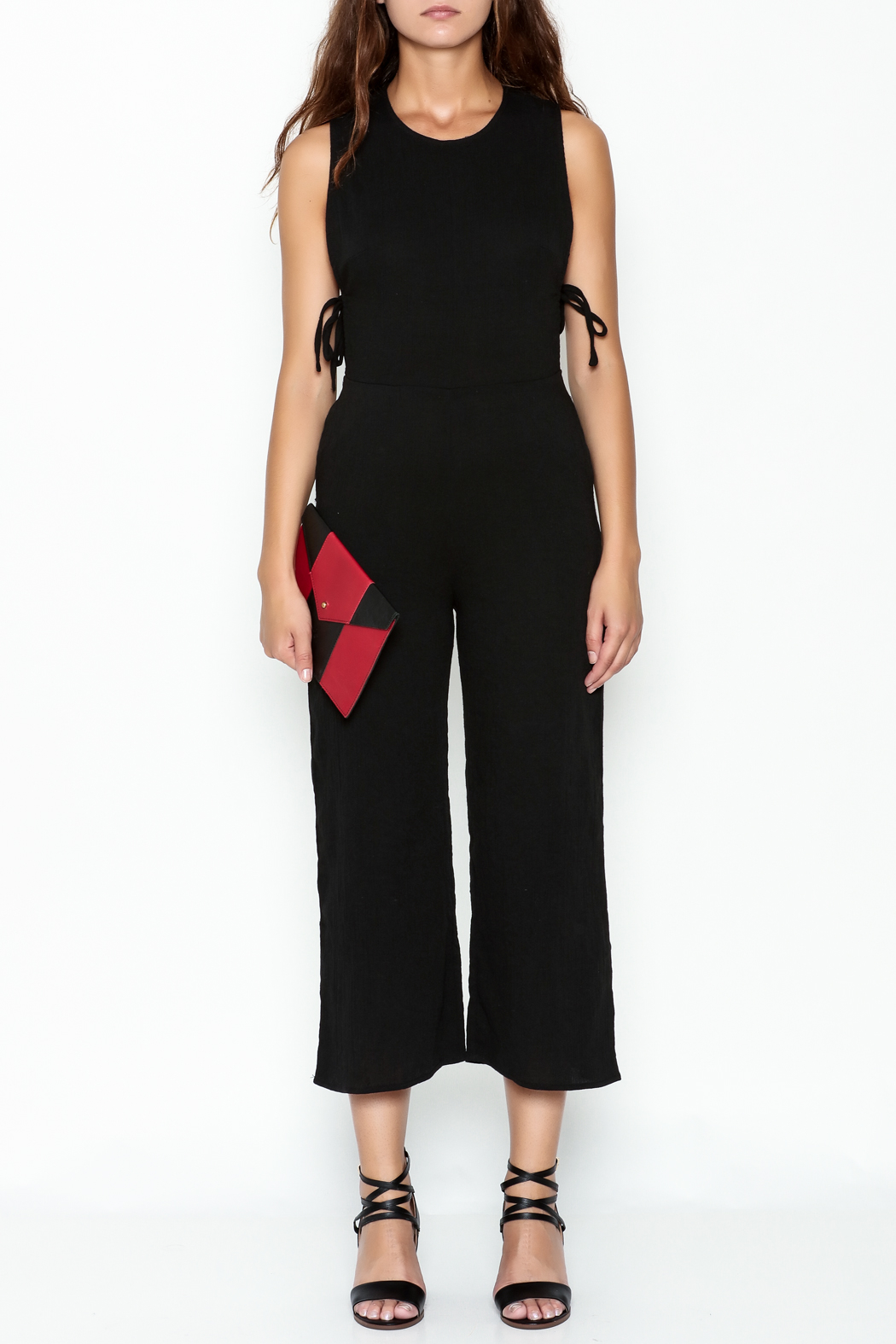 lucca couture Black Side Tie Jumpsuit - Front Full Image