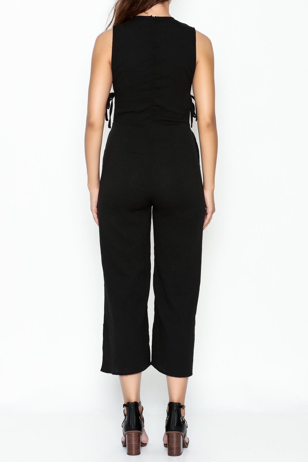 lucca couture Black Side Tie Jumpsuit - Back Cropped Image