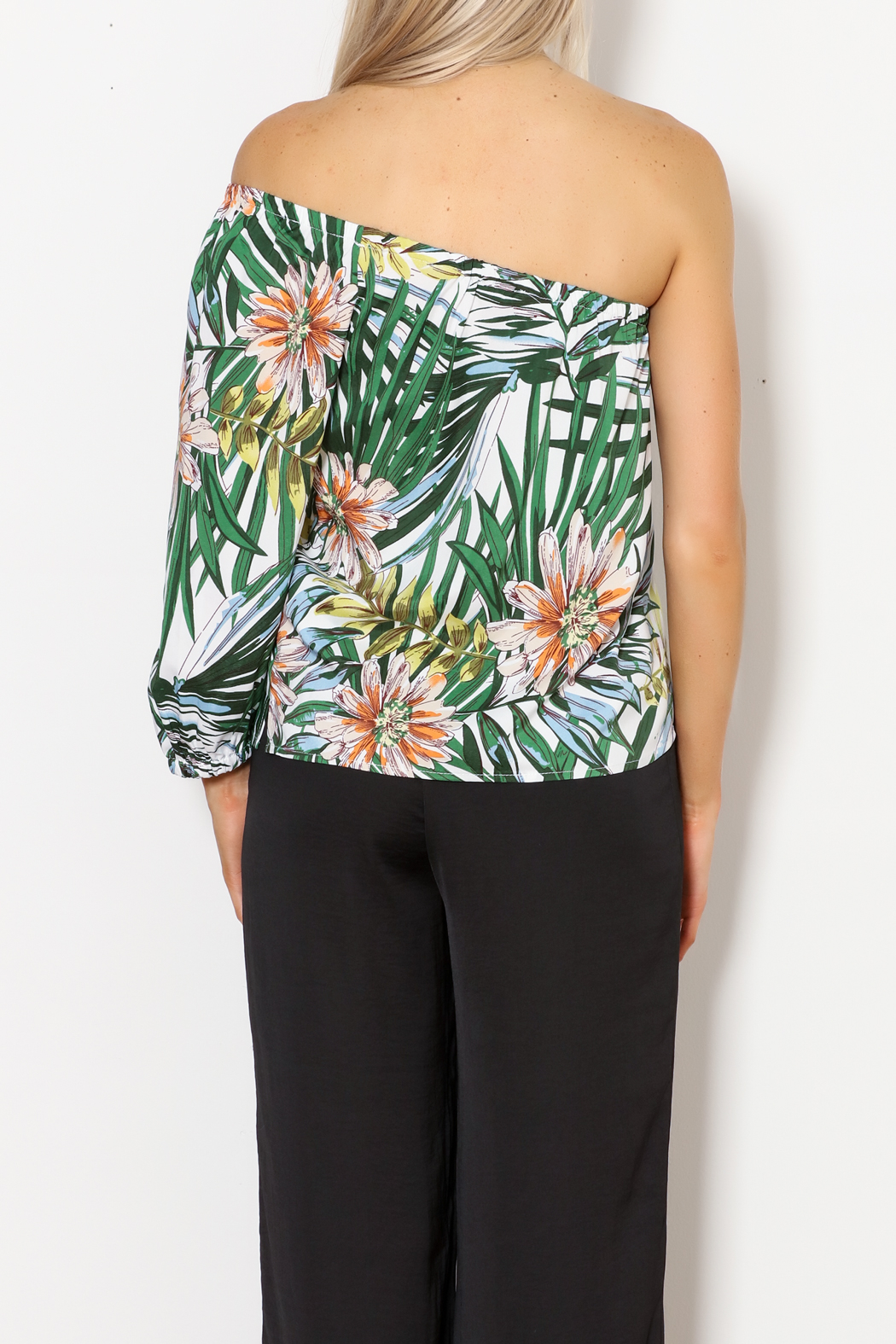 lucca couture Palm Print Top - Back Cropped Image