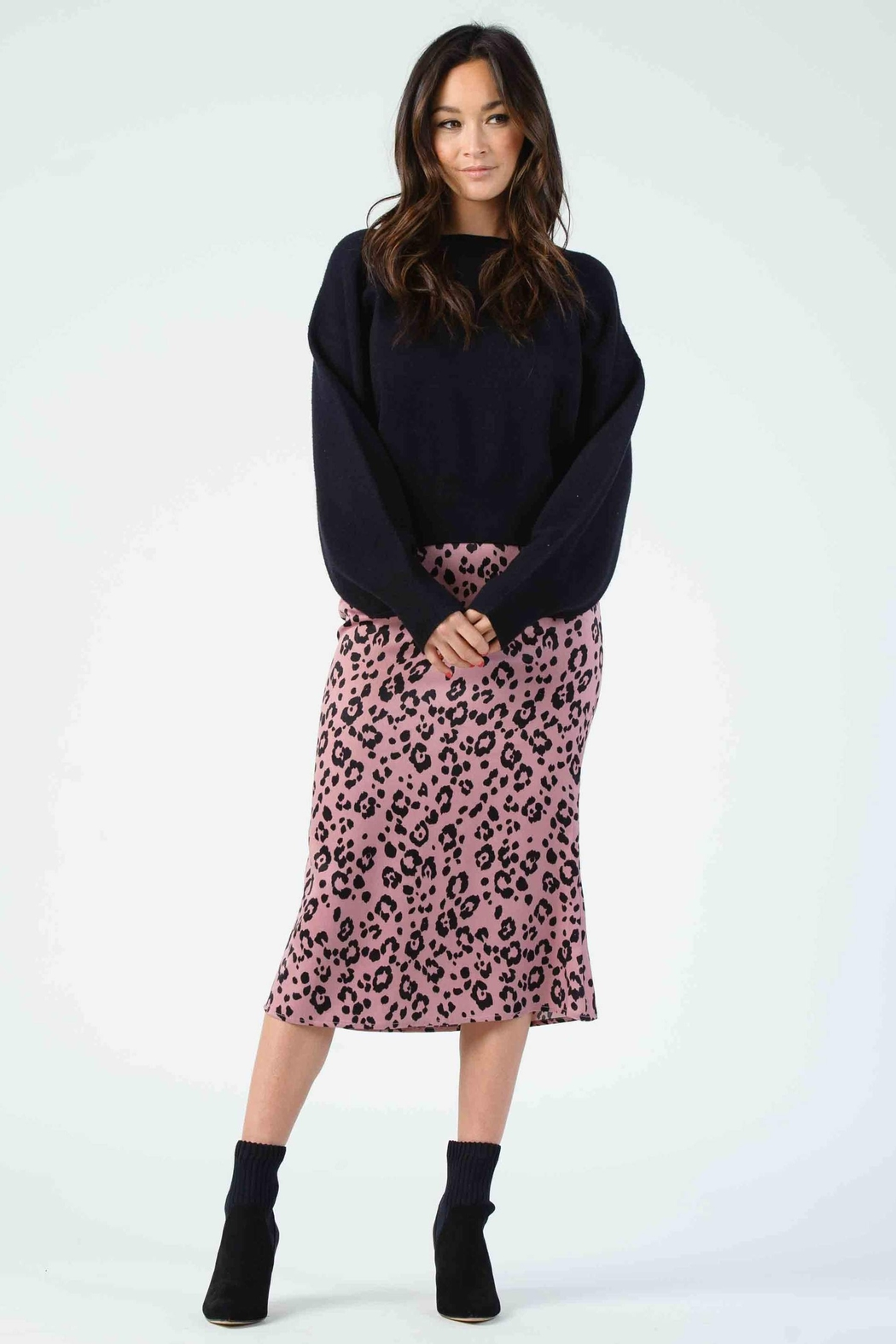 Lucca Frost Bias Cut Midi Skirt - Front Cropped Image