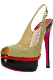 Luciano Padovan Multi-Colored Leather Slingback - Front cropped