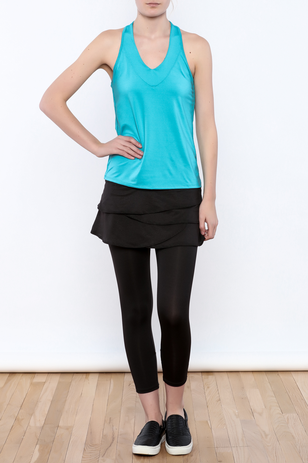 Lucky in Love V-Neck Workout Tank - Front Full Image