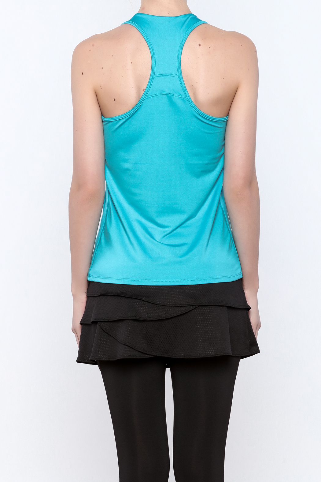 Lucky in Love V-Neck Workout Tank - Back Cropped Image