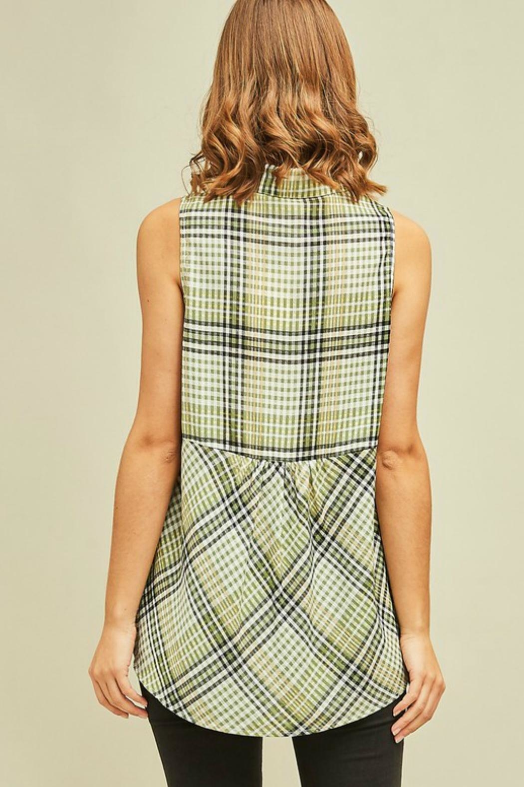 Entro Lucky Plaid Top - Front Full Image