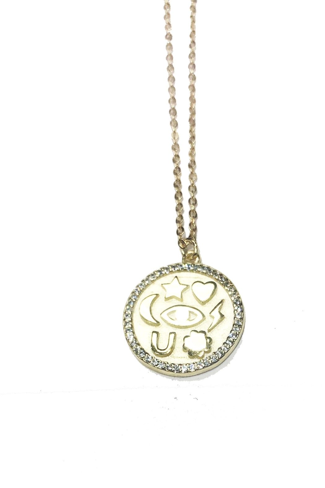 Lets Accessorize Lucky Token Necklace - Front Cropped Image