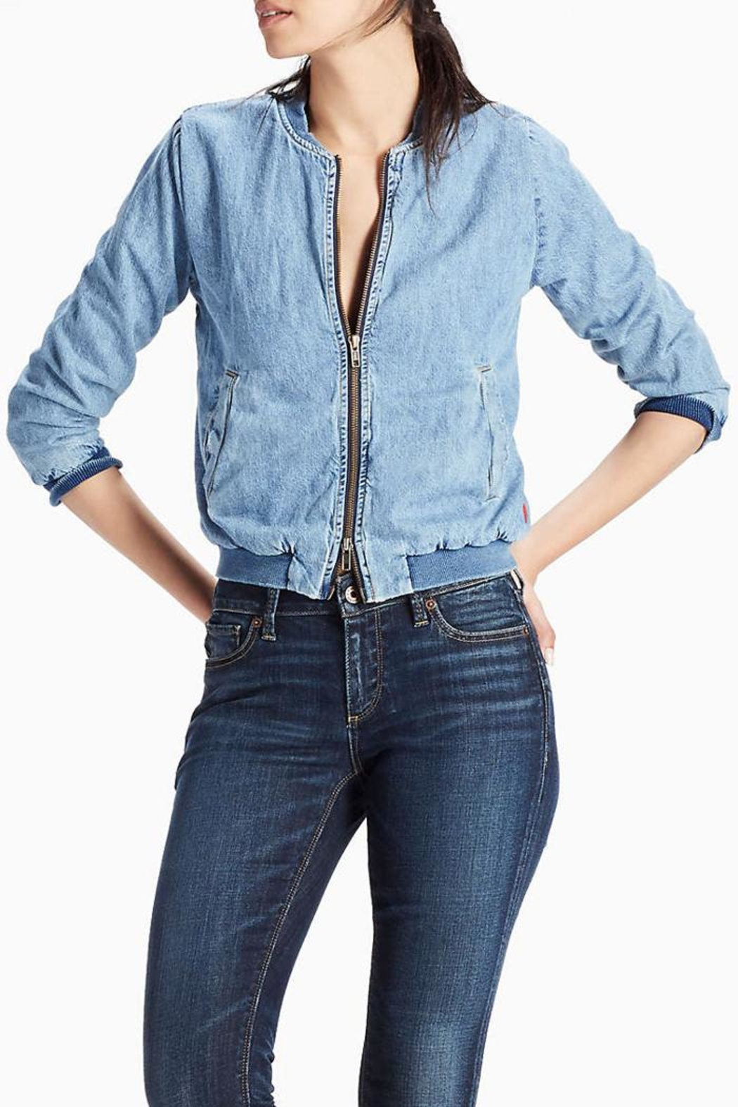 Lucky Brand Denim Bomber Jacket - Front Cropped Image