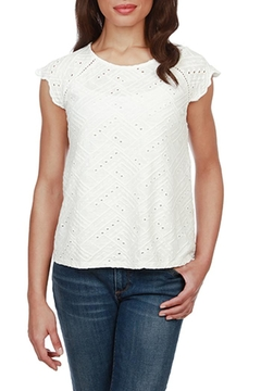 Lucky Brand Eyelet-Flutter Sleeve Top - Product List Image