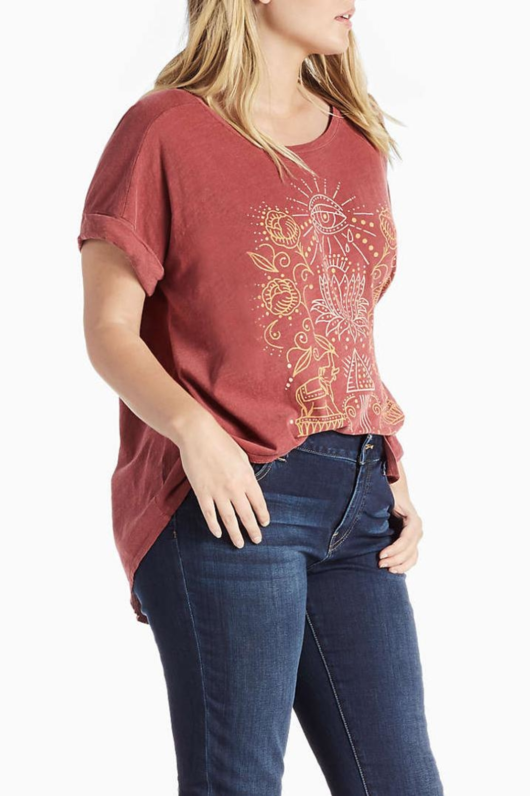 Lucky Brand Lotus Graphic Tee - Front Full Image