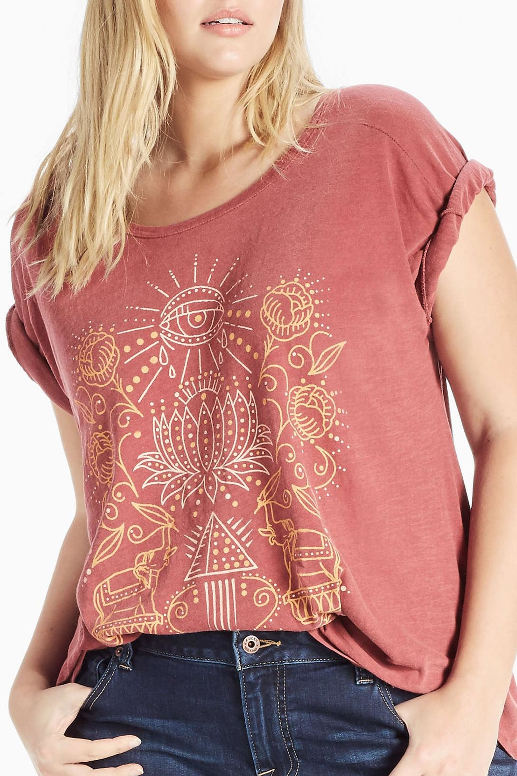 Lucky Brand Lotus Graphic Tee - Front Cropped Image