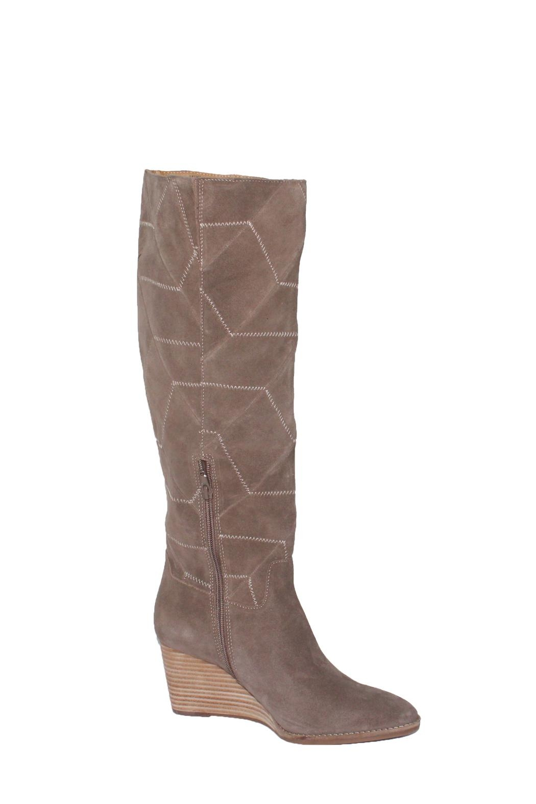 Lucky Brand Preeka Tall Water Proof Suede Chevron Stitch  Boots - Front Full Image