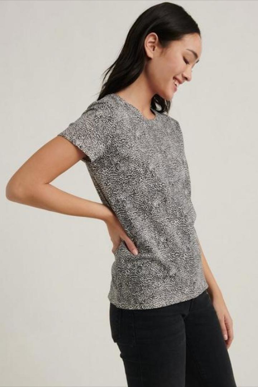 Lucky Brand Small-Print Cheetah Tee - Front Full Image