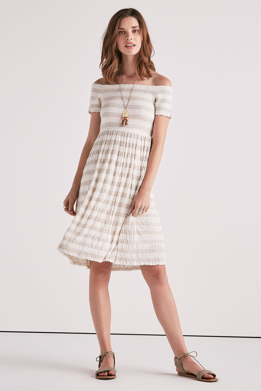 Lucky Brand Smocked Midi Dress - Front Cropped Image