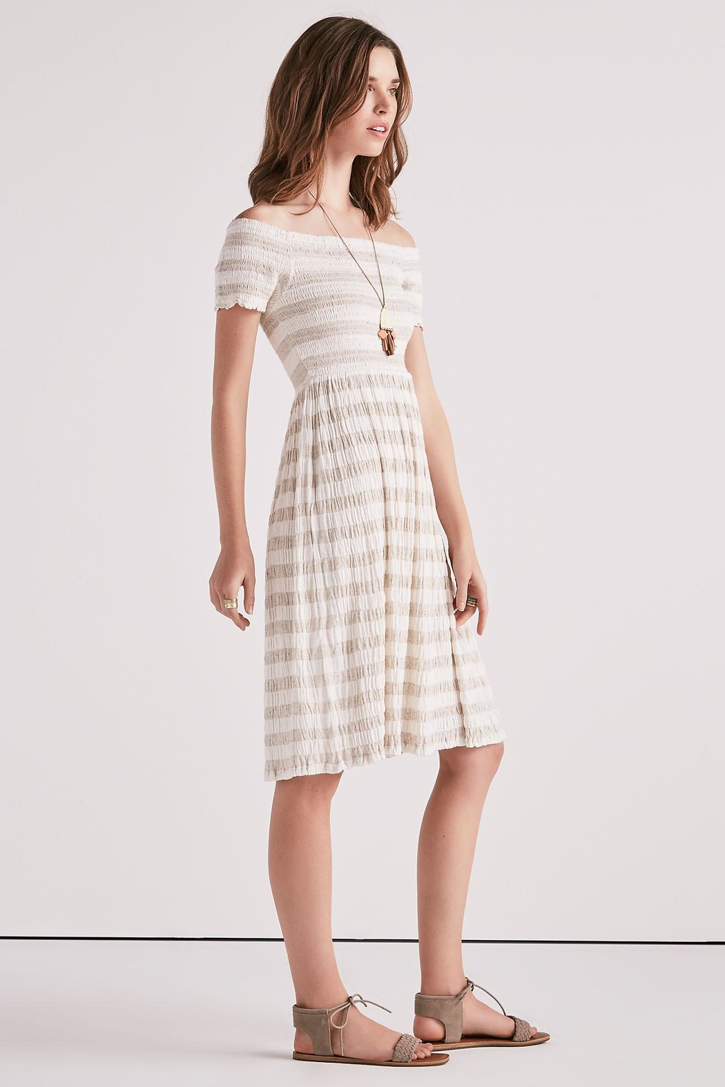 Lucky Brand Smocked Midi Dress - Side Cropped Image