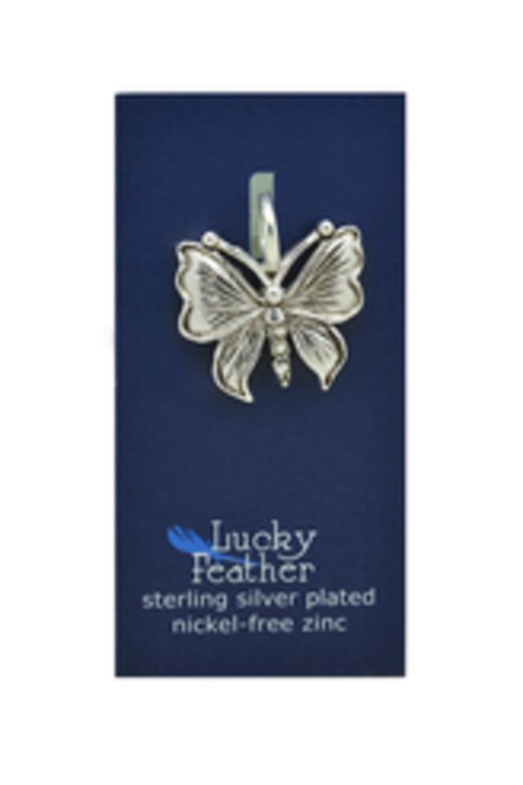Lucky Feather Cute Butterfly Charm - Front Full Image