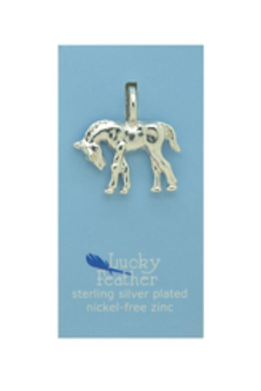 Lucky Feather Cute Horse Charm - Front Full Image