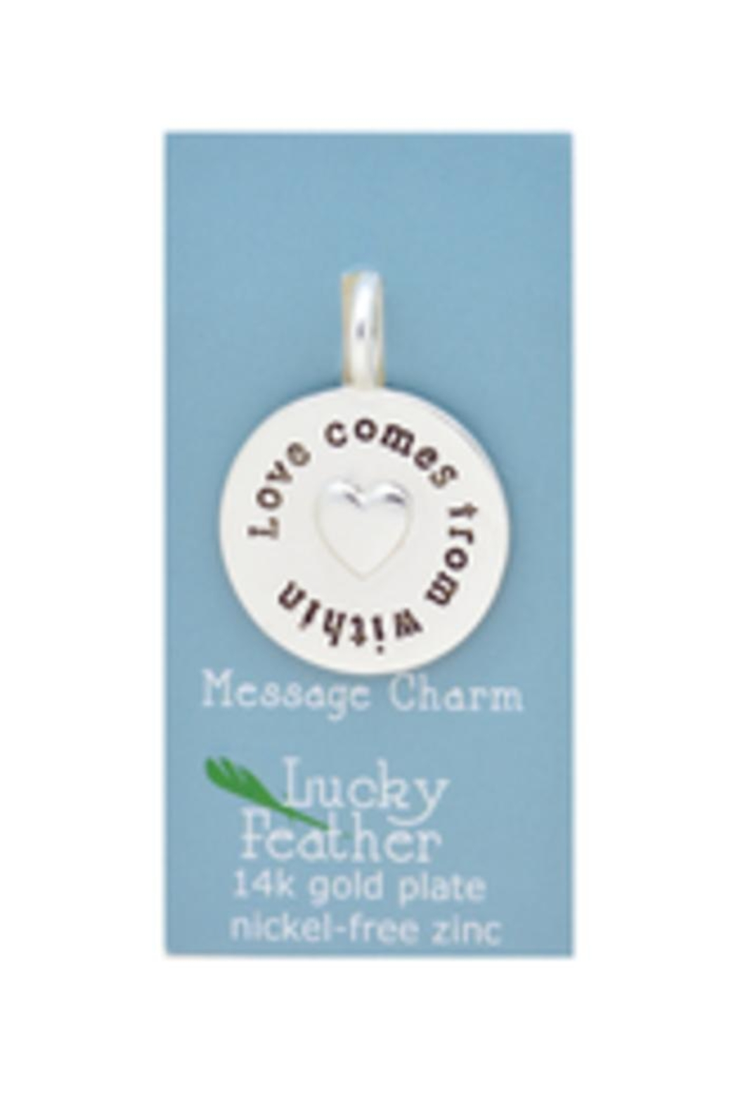 Lucky Feather Love Message Charm - Front Full Image