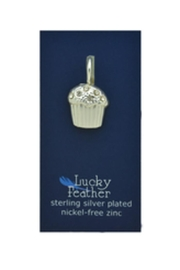 Lucky Feather Cute Cupcake Charm - Front cropped