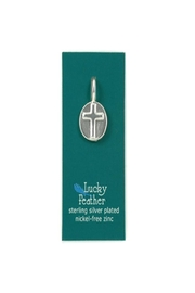 Lucky Feather Round Cross Charm - Front cropped