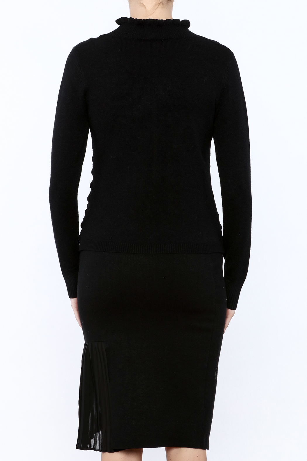 Lucy Paris Long Sleeve Mock Turtleneck Sweater - Back Cropped Image