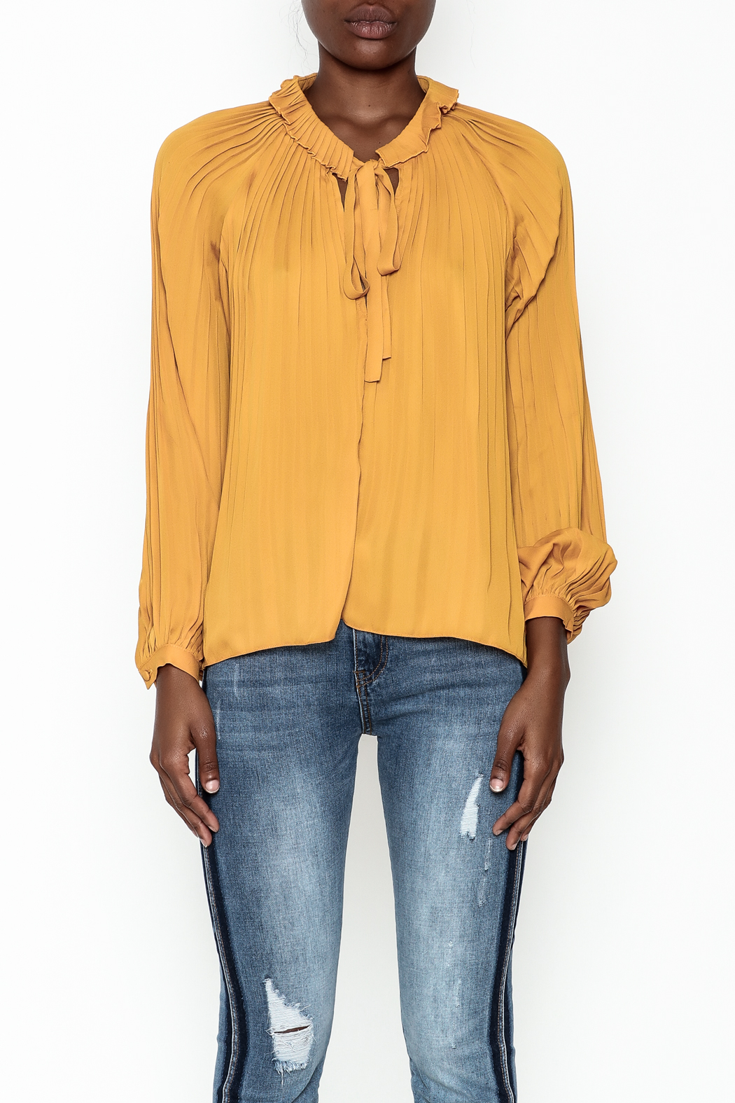 Lucy Paris Olivia Pleated Blouse - Front Full Image
