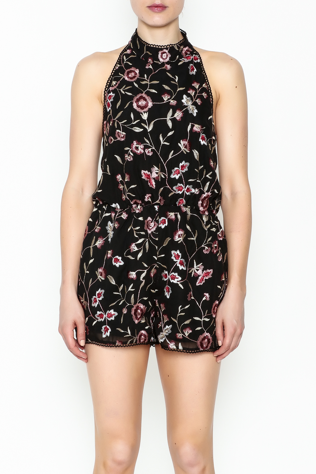 Lucy Paris Floral Open Back Romper - Front Full Image