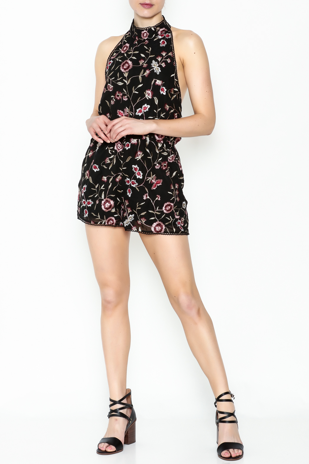 Lucy Paris Floral Open Back Romper - Side Cropped Image