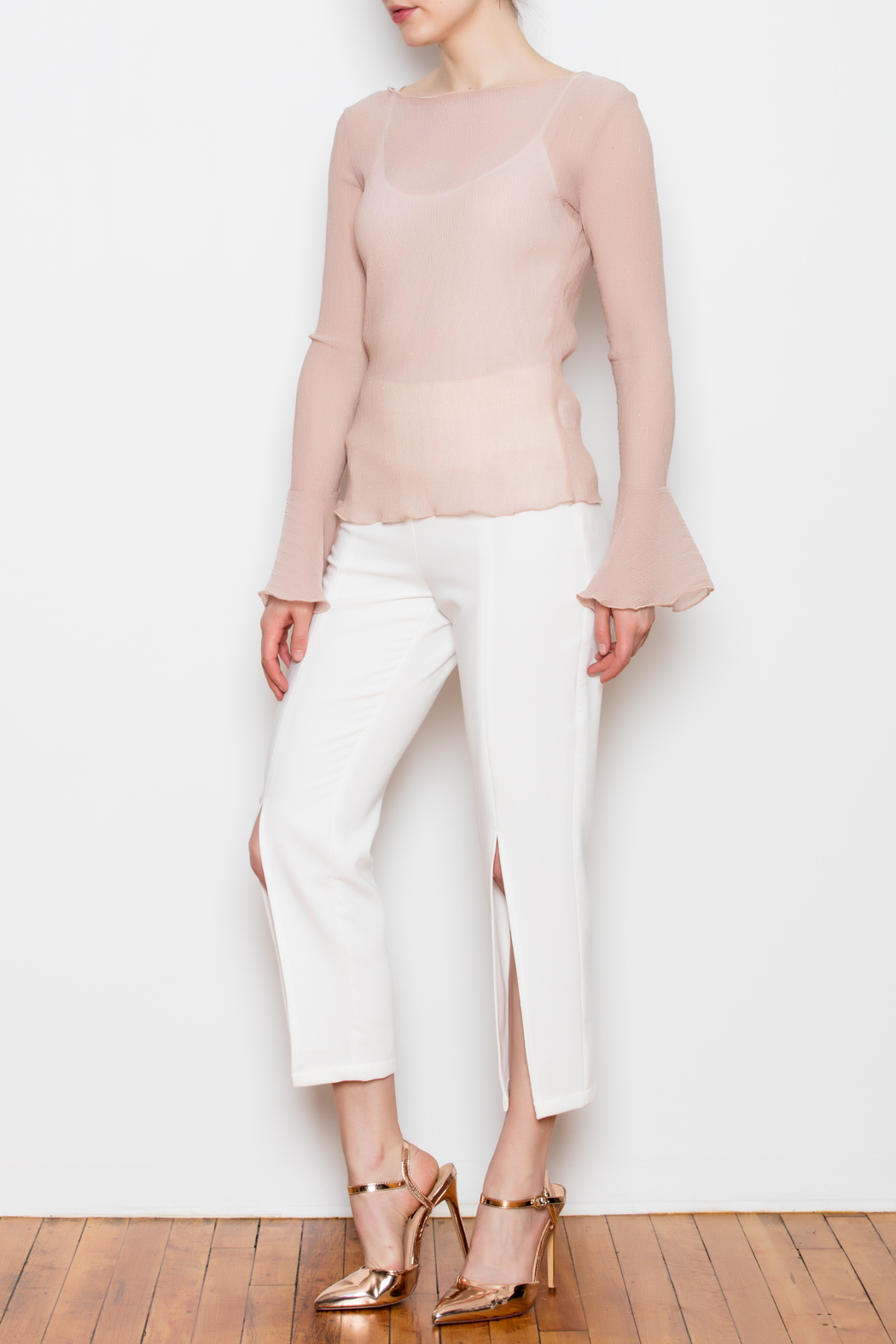Lucy Paris Sheer Bell Sleeve Top - Side Cropped Image
