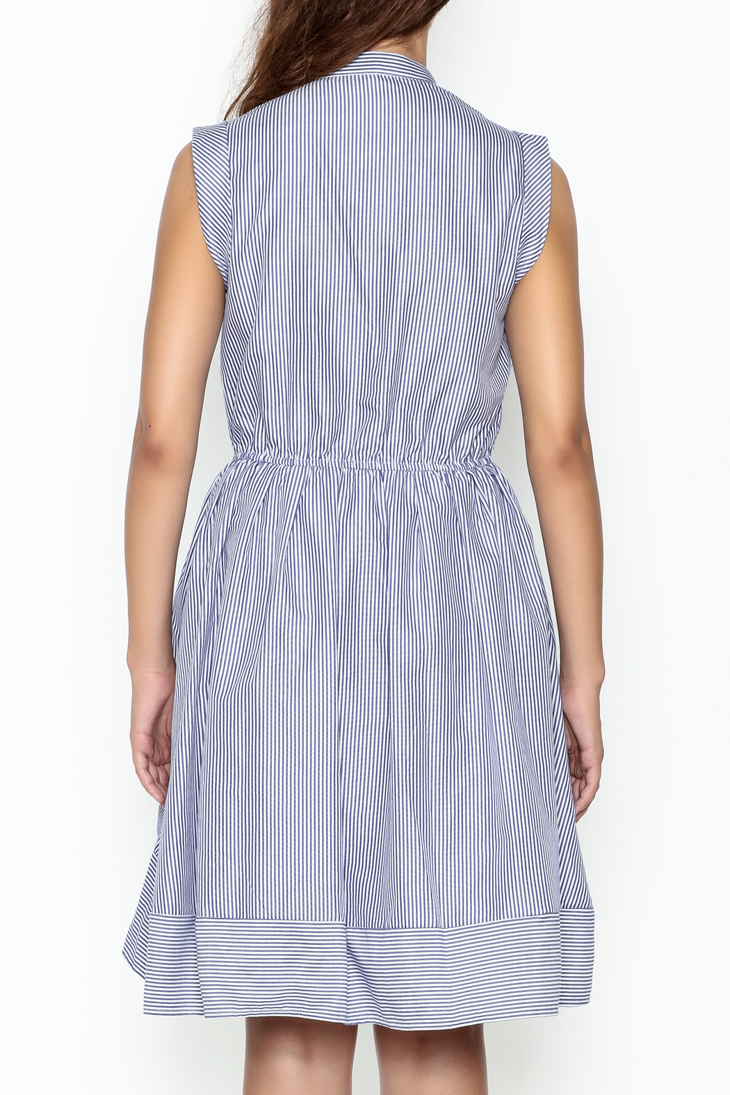Lucy Paris Striped Fit & Flare Dress - Back Cropped Image