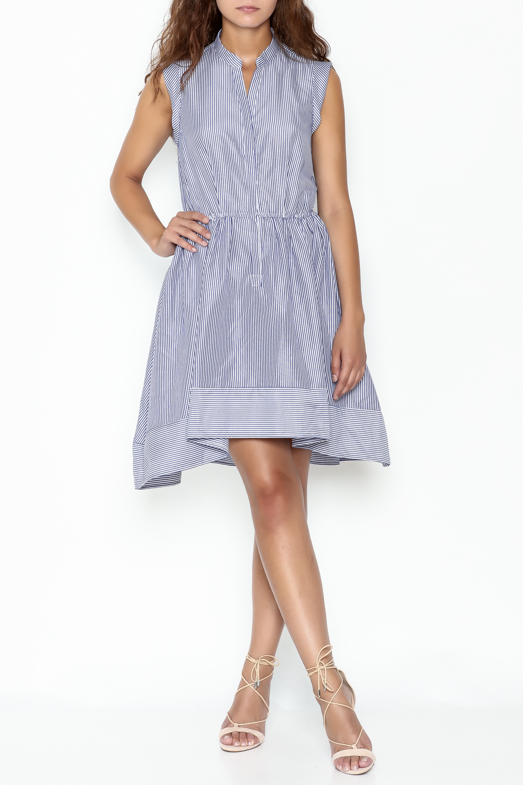 Lucy Paris Striped Fit & Flare Dress - Side Cropped Image