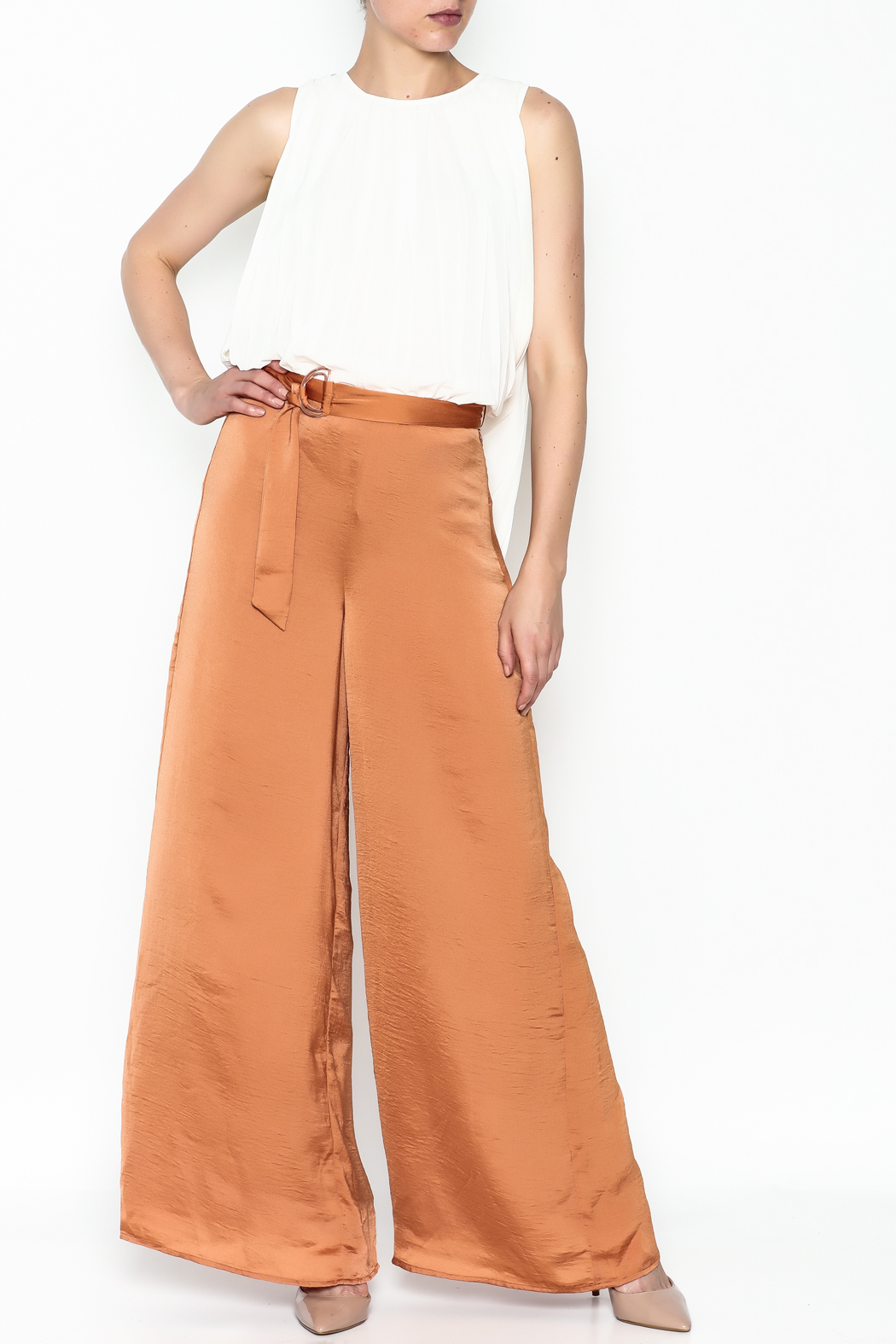 Lucy Paris Terra Cotta Pants - Side Cropped Image