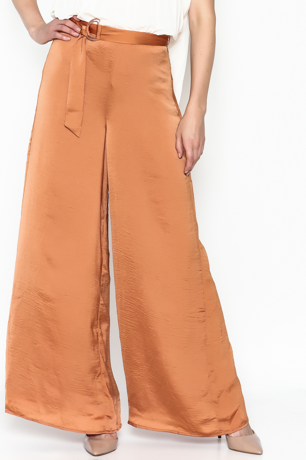 Lucy Paris Terra Cotta Pants - Front Cropped Image