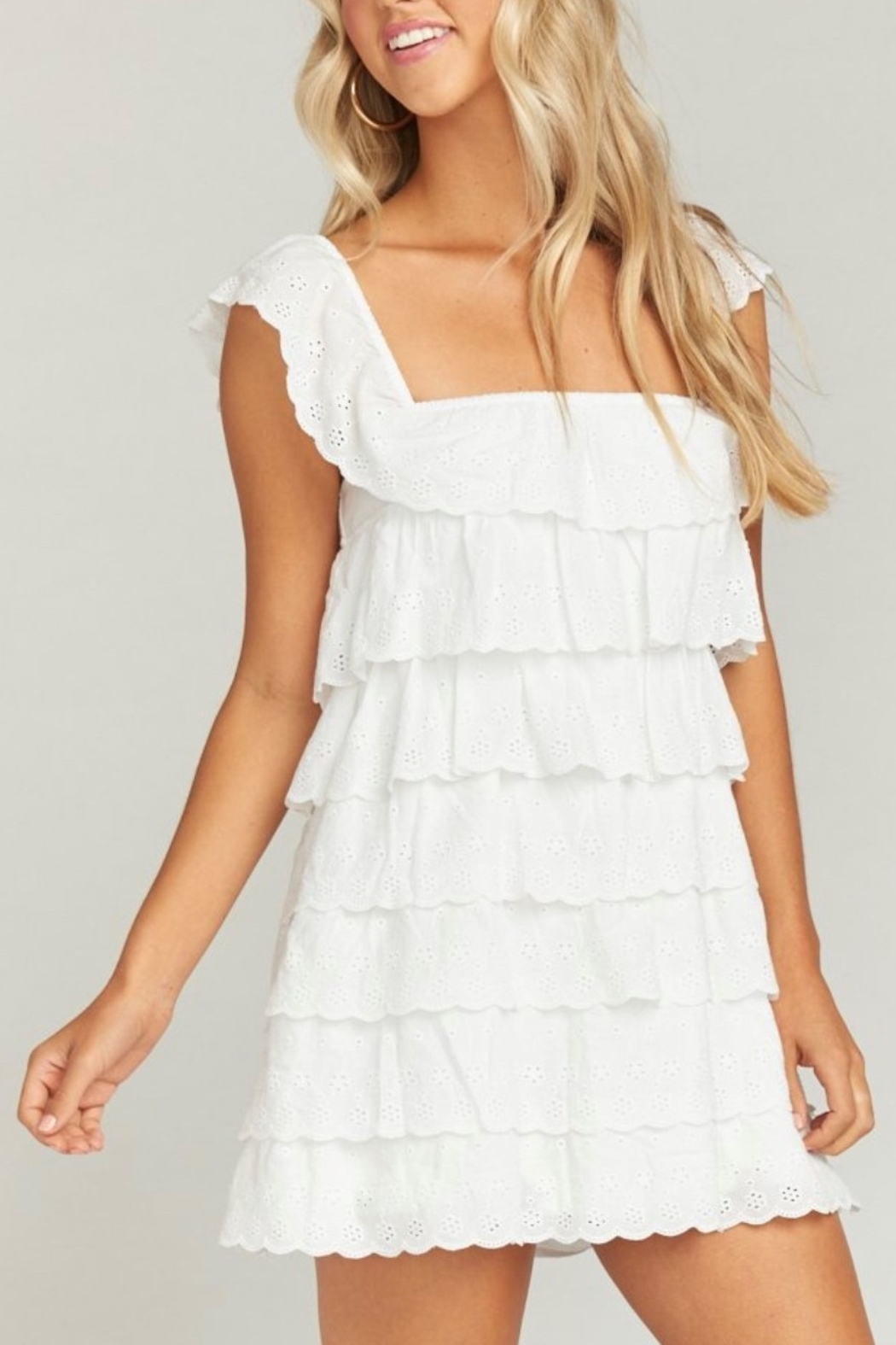 Show Me Your Mumu Lucy White Eyelet Mini Dress - Front Cropped Image