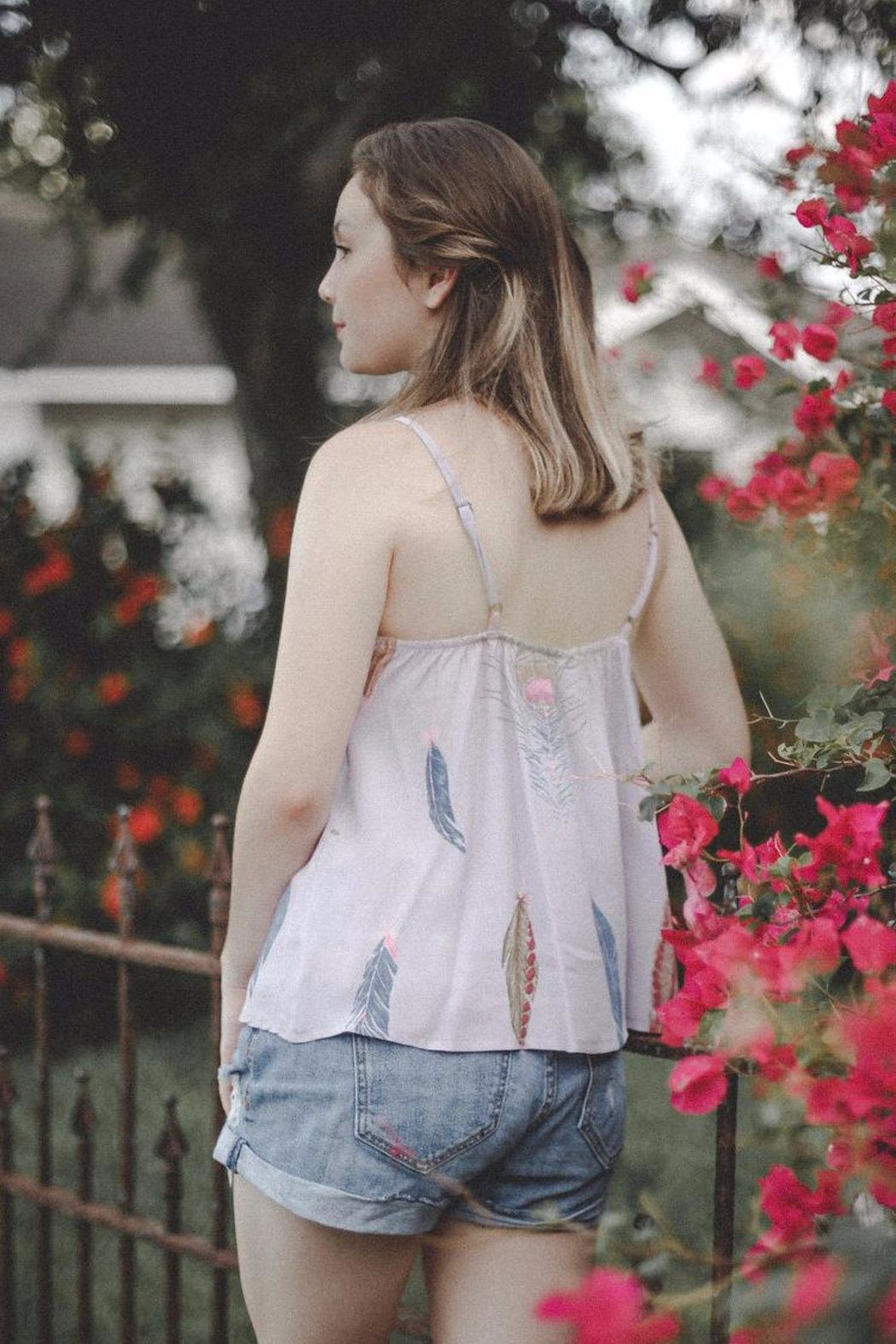 Lucy Love Feather Sleeveless Top - Front Full Image