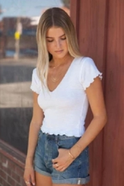 Lucy Love Light-Weight White Crop - Front full body