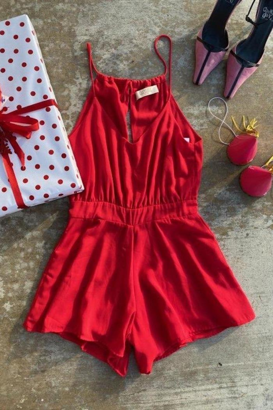 Lucy Love Tie Back Romper - Front Full Image
