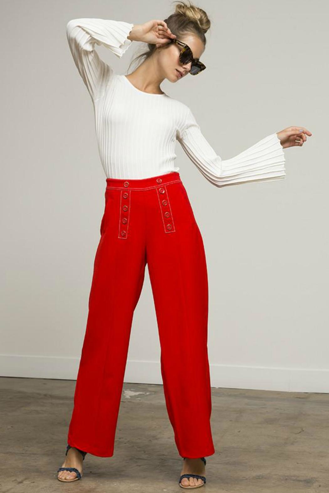 Lucy Paris Flare Sleeve Sweater - Side Cropped Image