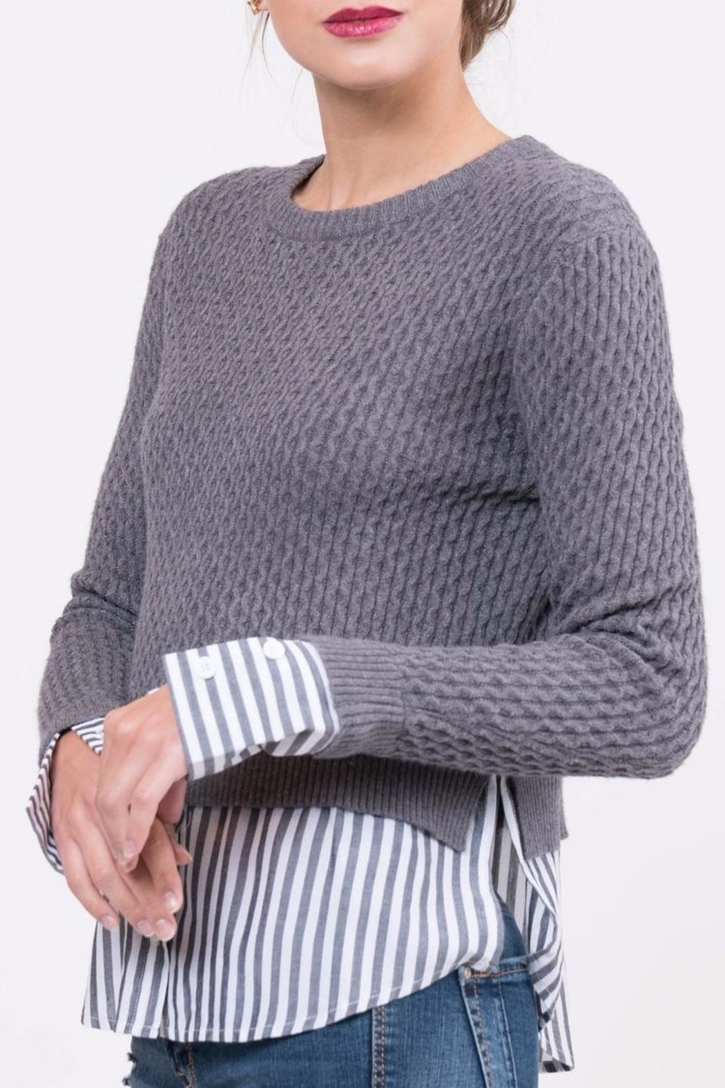 Lucy Paris Knitted Layered Sweater - Front Cropped Image