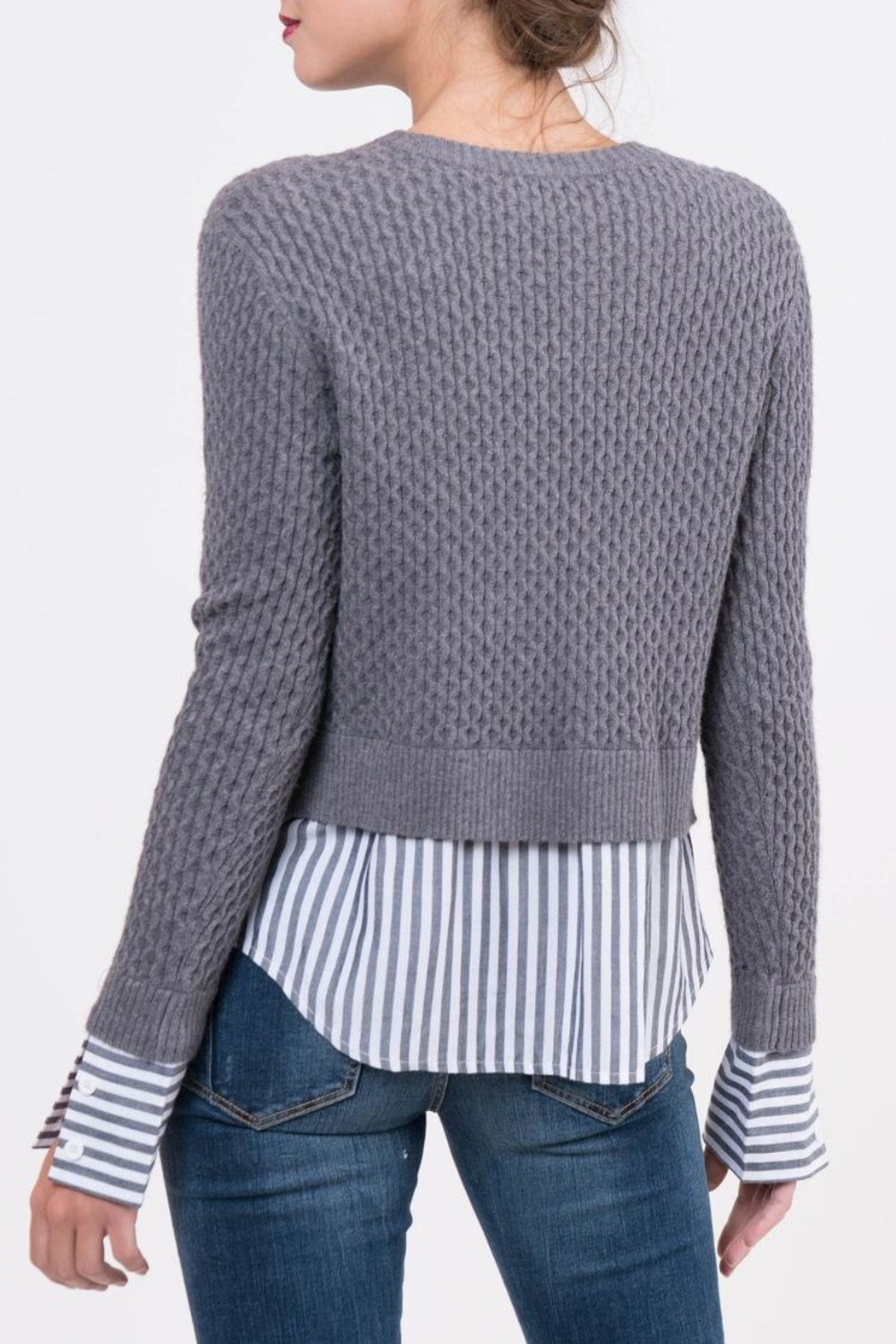 Lucy Paris Knitted Layered Sweater - Side Cropped Image