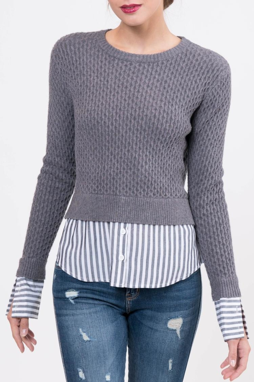 Lucy Paris Knitted Layered Sweater - Front Full Image