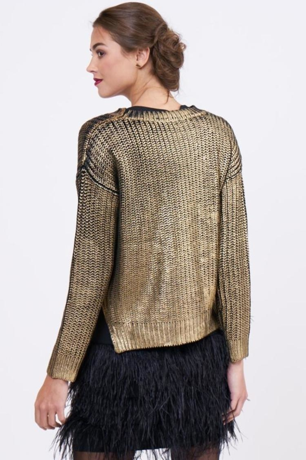 Lucy Paris Metallic Sweater - Side Cropped Image
