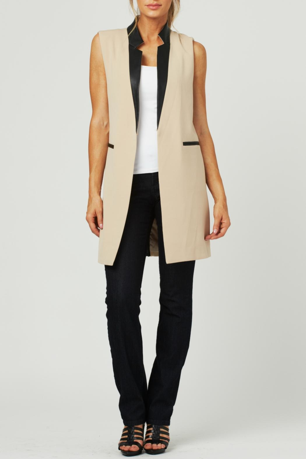 Luii Leather Trimmed Vest - Front Full Image