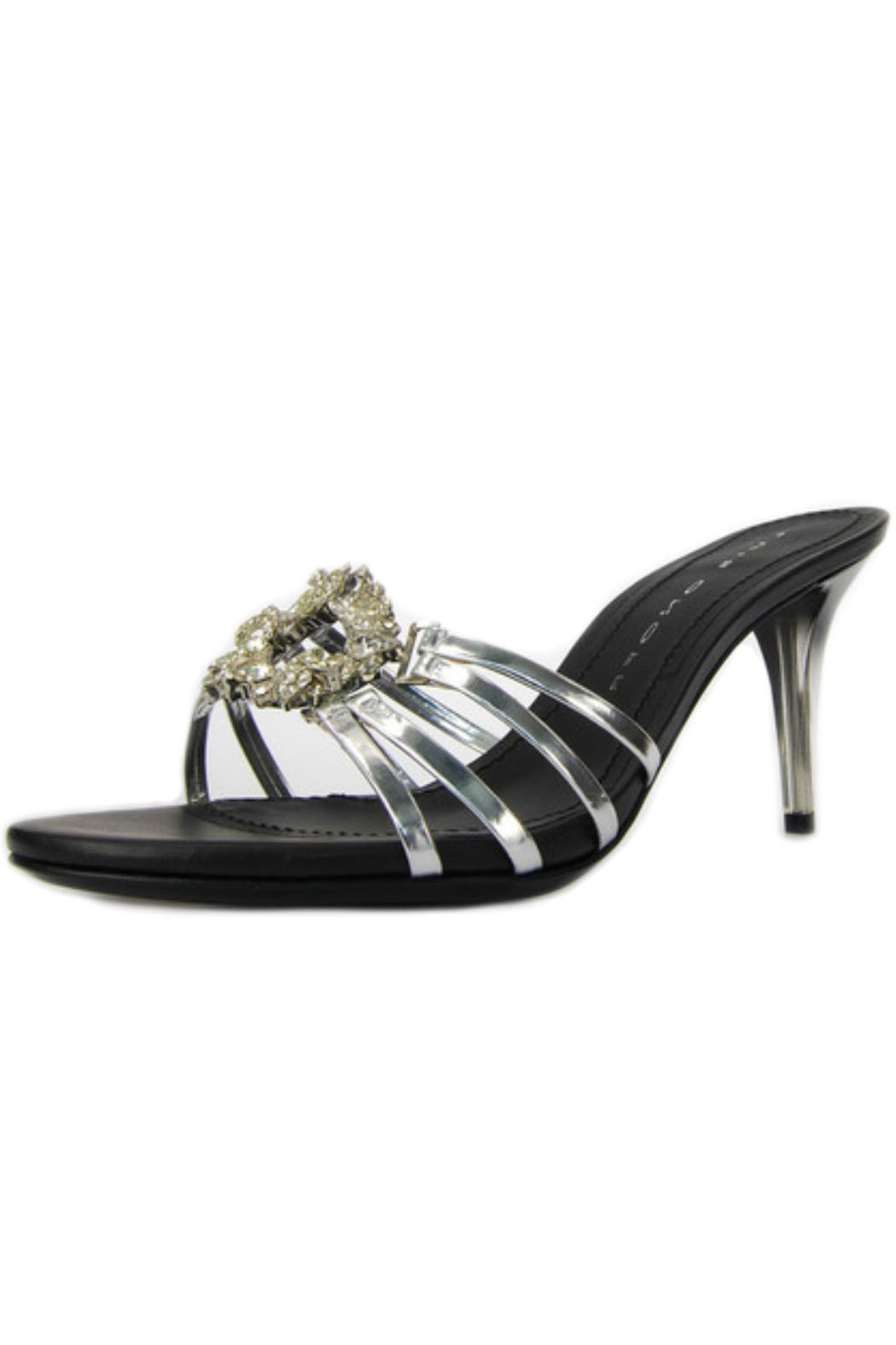 Luis Onofre Silver Swarovski Mule - Front Full Image