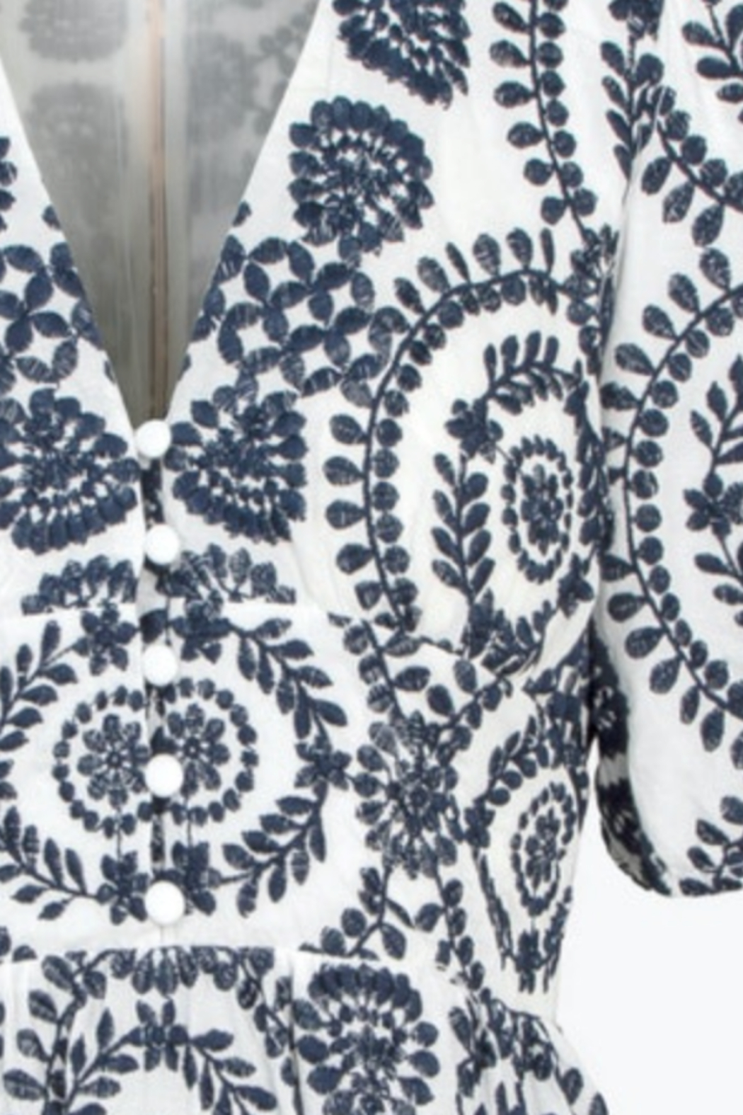 Adelyn Rae Luisa Cotton Embroidered Eyelet Maxi Dress - Back Cropped Image