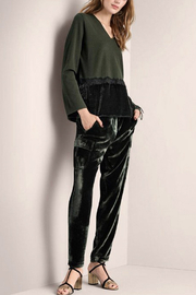 Luisa Cerano V-Neck Green Top - Front cropped